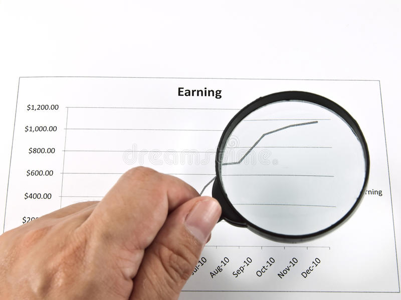 Magnifying glass graph. A magnifying glass over a graph. The image idea for business concept royalty free stock photo