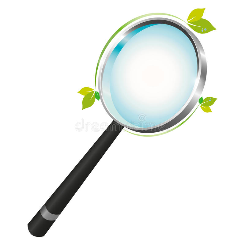 Magnifying Glass With A Green Leaf Touch Royalty Free Stock Photography