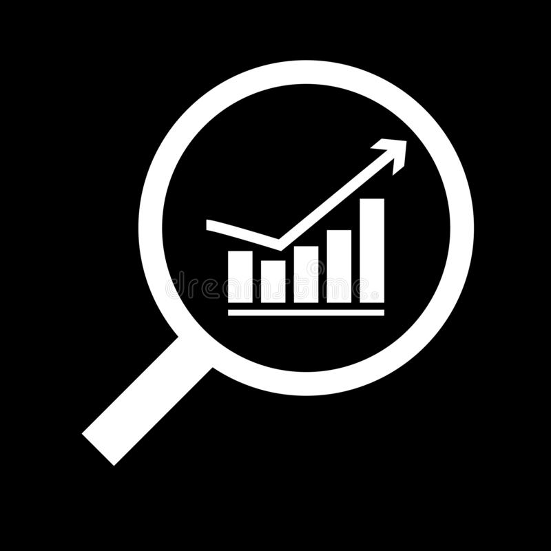Magnifying glass and growing graph for web icons and symbols on a black background. Flat stock illustration