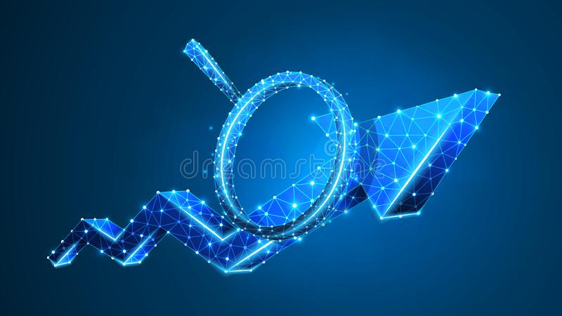 Magnifying glass on Growth chart arrow. Market success analysis, infographic reserch concept. Abstract, digital, wireframe, low. Poly mesh, Polygonal Vector stock illustration