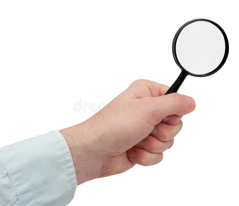 Magnifying Glass In Hand Royalty Free Stock Images