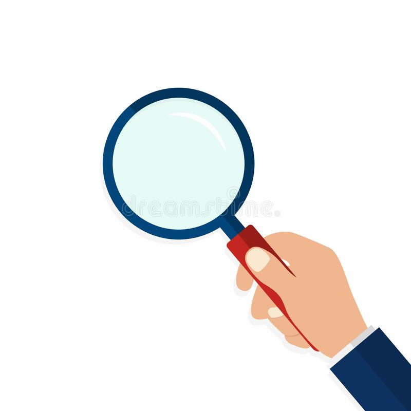 Magnifying glass in hand in flat style.Icon of hand holding a magnifying glass on isolated background.Flat lens or loupe. vector vector illustration