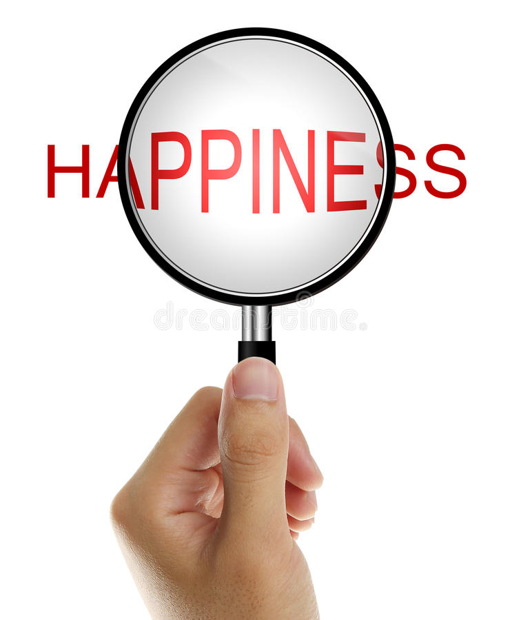 Magnifying glass with Happiness stock photo