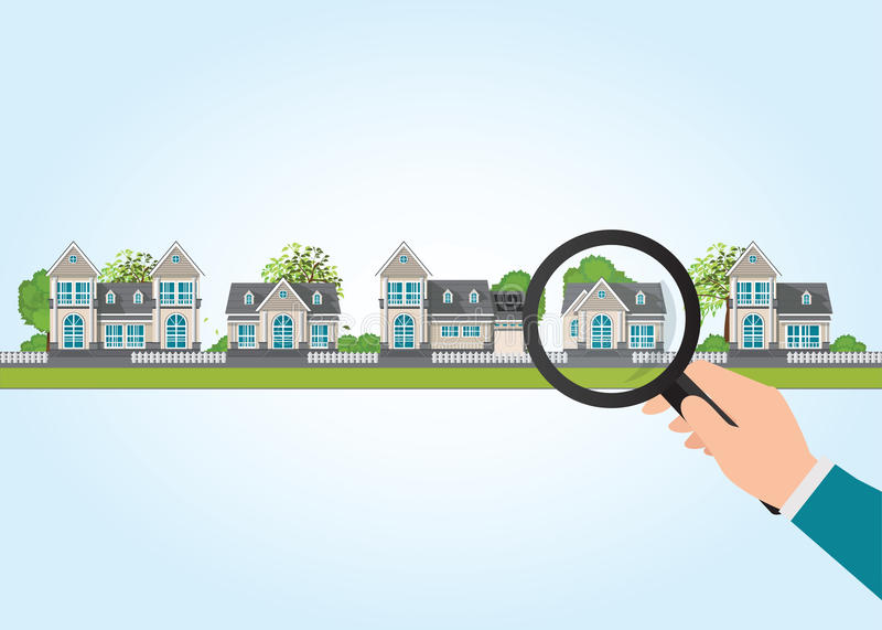 Magnifying glass in human hand with house icon. royalty free illustration