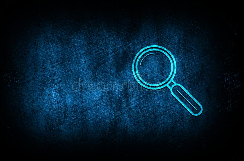 Magnifying glass icon abstract blue background illustration digital texture design concept. Magnifying glass icon abstract blue background illustration dark blue stock illustration