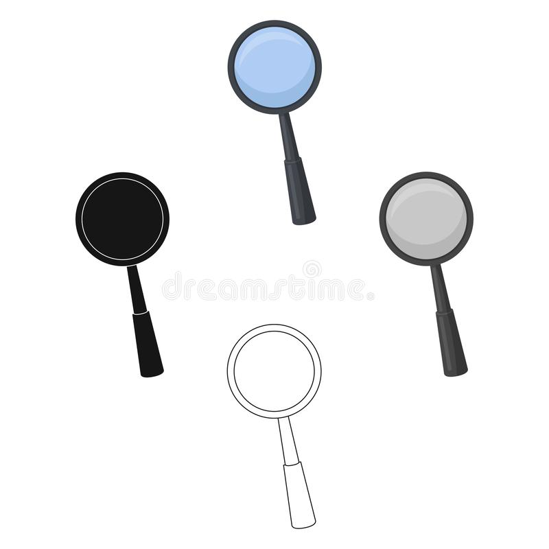 Magnifying glass icon in cartoon style isolated on white background. Precious minerals and jeweler symbol stock vector. Magnifying glass icon in cartoon design stock illustration