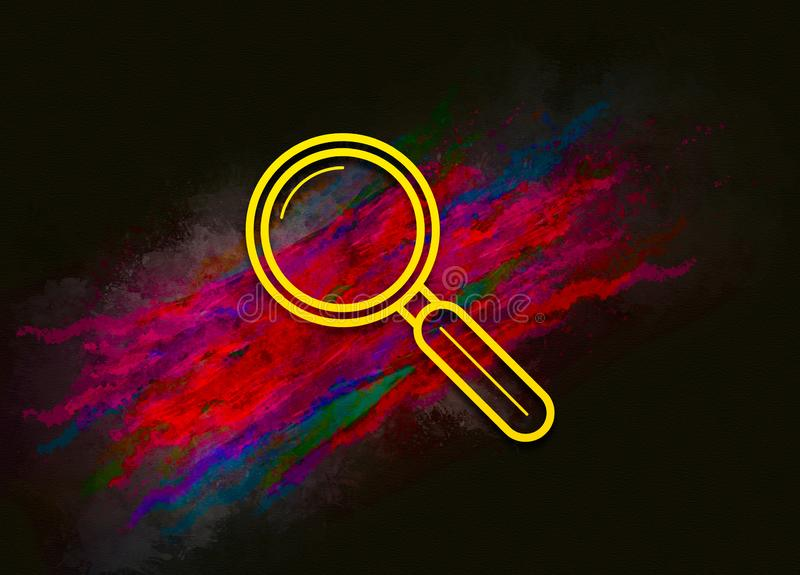 Magnifying glass icon colorful paint abstract background brush strokes illustration design. Creative bright red color texture fluid liquid waves stock illustration