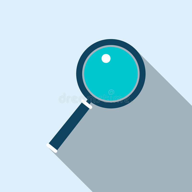 Magnifying glass icon in flat style stock illustration