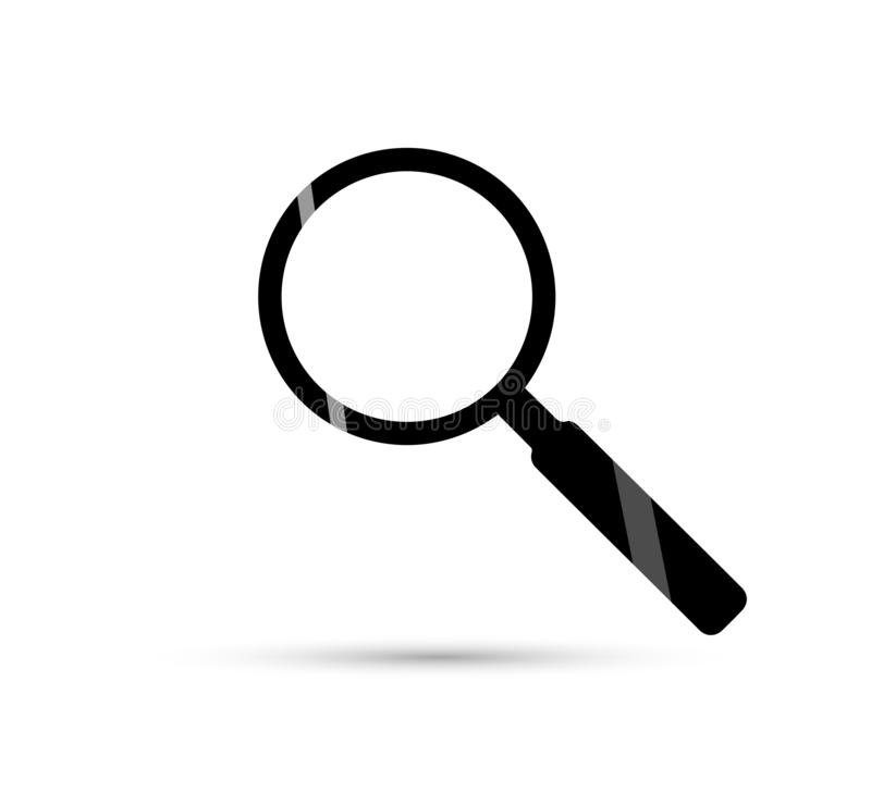 Magnifying glass icon isolated on white background illustration. Zoom symbol, or search icon royalty free illustration
