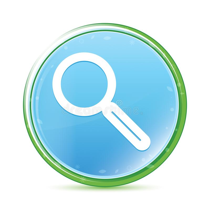Magnifying glass icon natural aqua cyan blue round button. Magnifying glass icon isolated on natural aqua cyan blue round button vector illustration