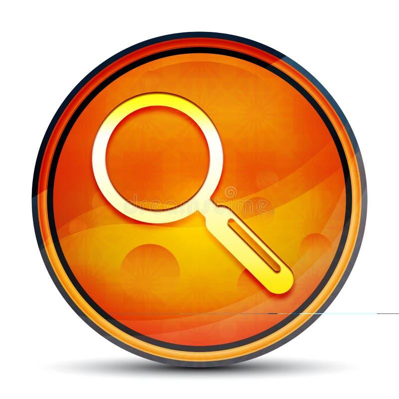 Magnifying glass icon shiny bright orange round button illustration. Magnifying glass icon isolated on shiny bright orange round button illustration royalty free illustration