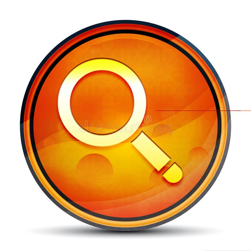 Magnifying glass icon shiny bright orange round button illustration. Magnifying glass icon isolated on shiny bright orange round button illustration vector illustration