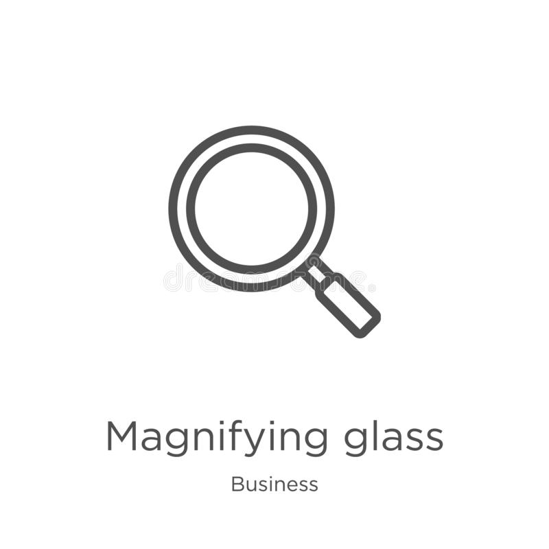 magnifying glass icon vector from business collection. Thin line magnifying glass outline icon vector illustration. Outline, thin royalty free illustration