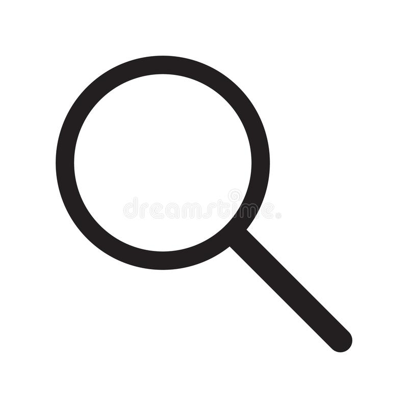 Magnifying glass icon, vector magnifier or loupe sign. Vector illustration on white background stock illustration