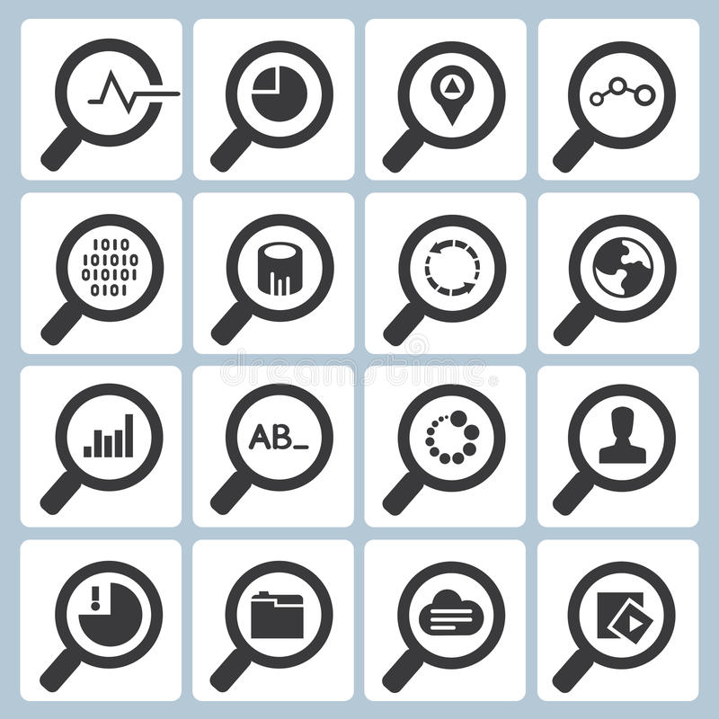 Magnifying glass icons. Set of 16 magnifying glass icons, buttons vector illustration