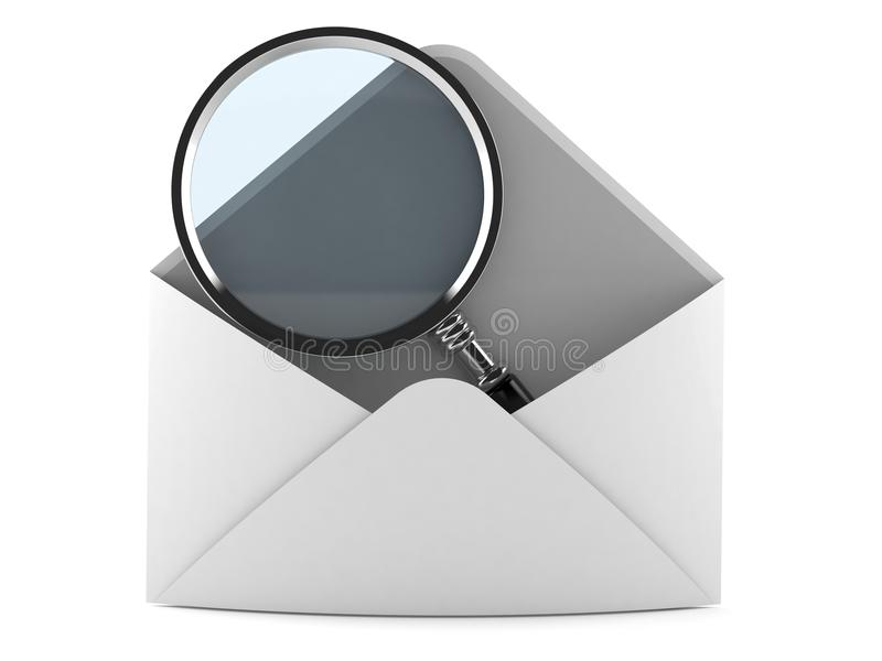 Magnifying glass inside envelope letter royalty free illustration