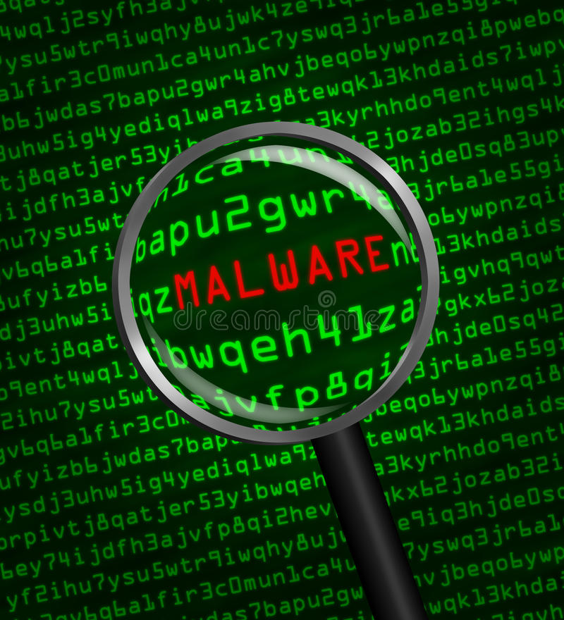 Magnifying glass locating malware in computer code. Magnifying glass enlarging malware in computer machine code vector illustration