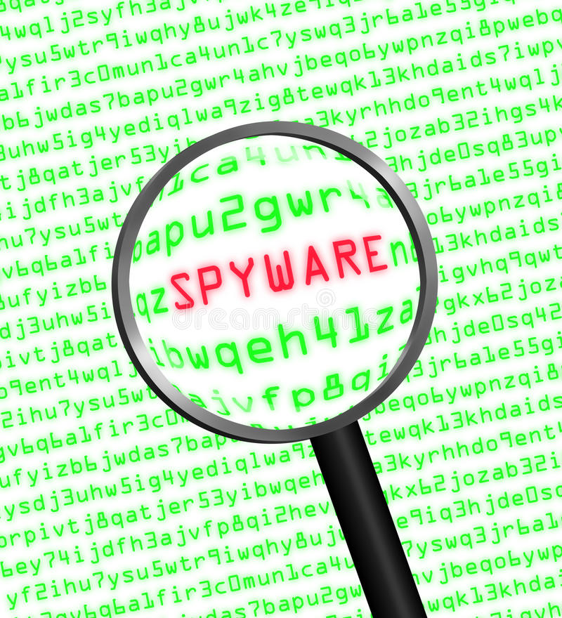 Magnifying glass locating spyware in computer code. Magnifying glass locating spyware in computer machine code royalty free illustration