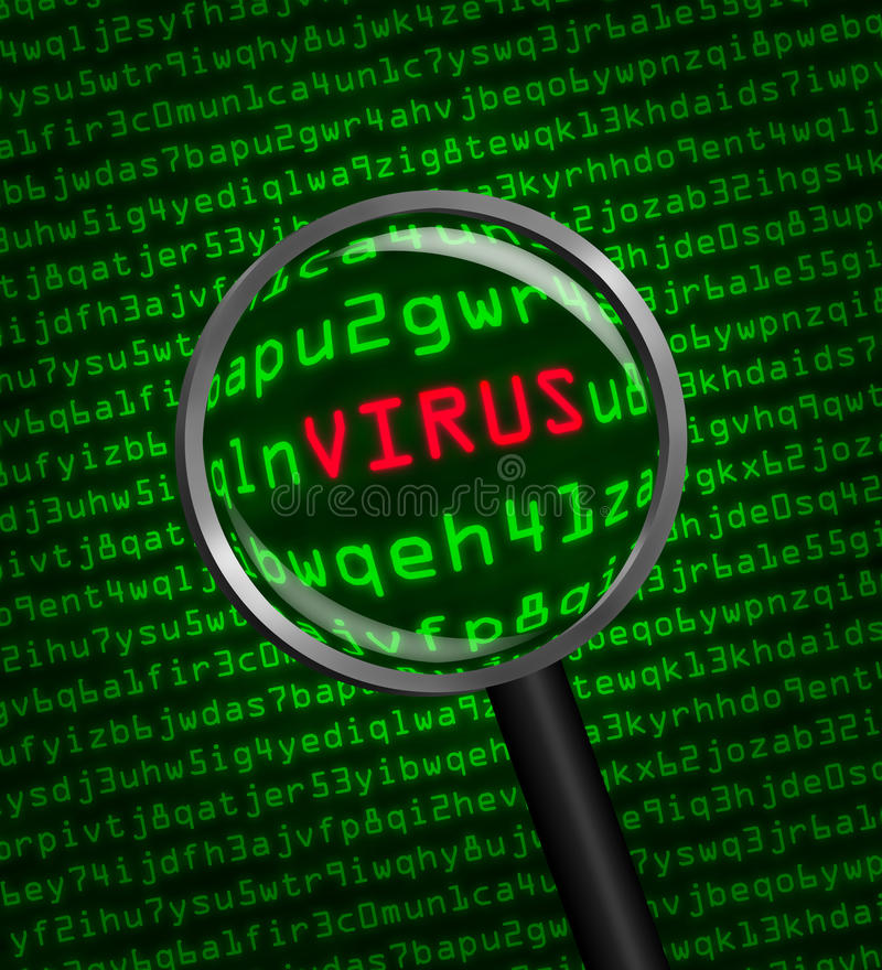 Magnifying glass locating a virus in computer code. Magnifying glass locating a virus in computer machine code royalty free illustration