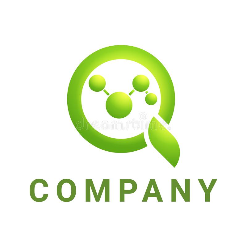 Magnifying glass logo, circle connected in the glass, green royalty free illustration