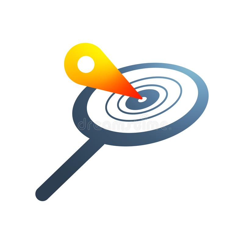 Magnifying glass logo, location icon in the middle stock illustration