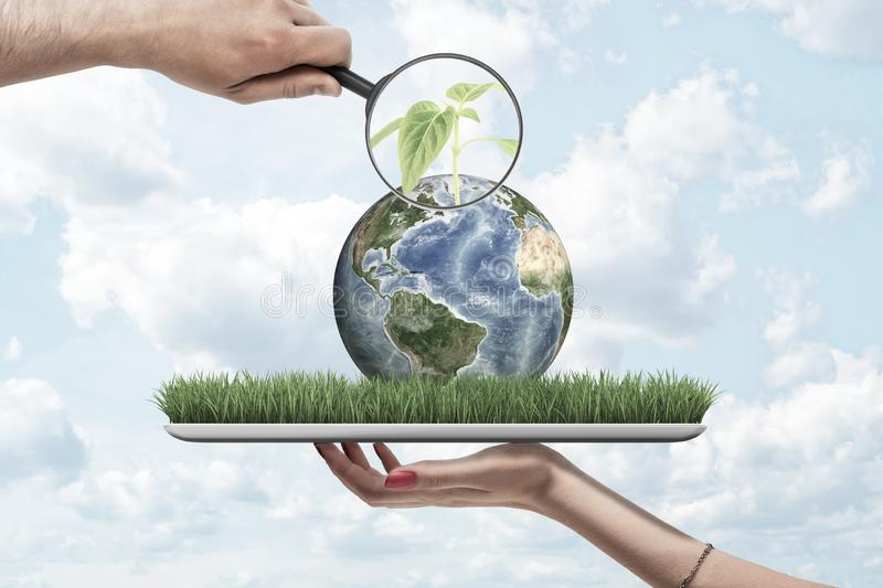 Magnifying glass in man`s hand zooming at green sprout on small planet Earth lying on screen of digital tablet that is stock images