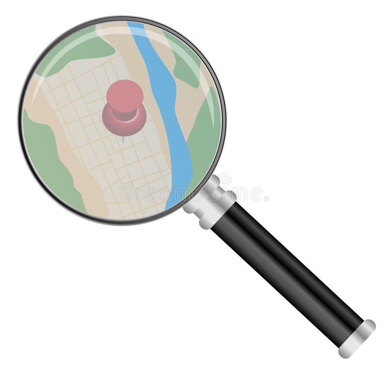 Magnifying Glass and Map. Vector - Magnifying Glass on Map Isolated on White vector illustration