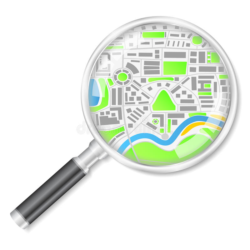 Magnifying glass with map royalty free illustration