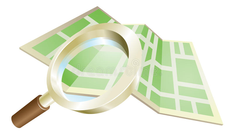 Magnifying glass map concept royalty free illustration