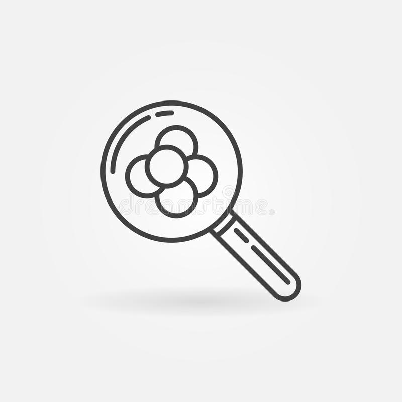 Magnifying glass and molecule outline icon. Vector symbol royalty free illustration