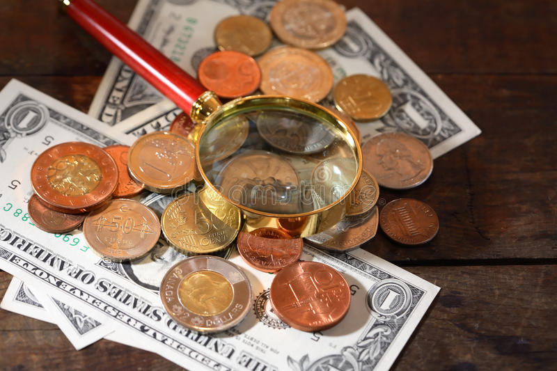Magnifying Glass And Money stock image