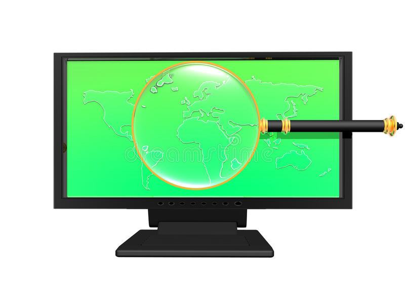 Magnifying glass on monitor royalty free illustration
