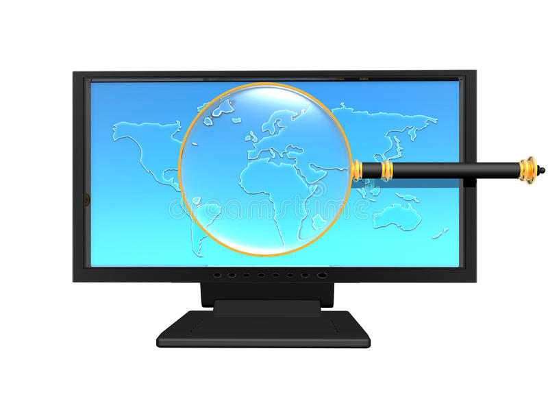 Magnifying glass on monitor vector illustration