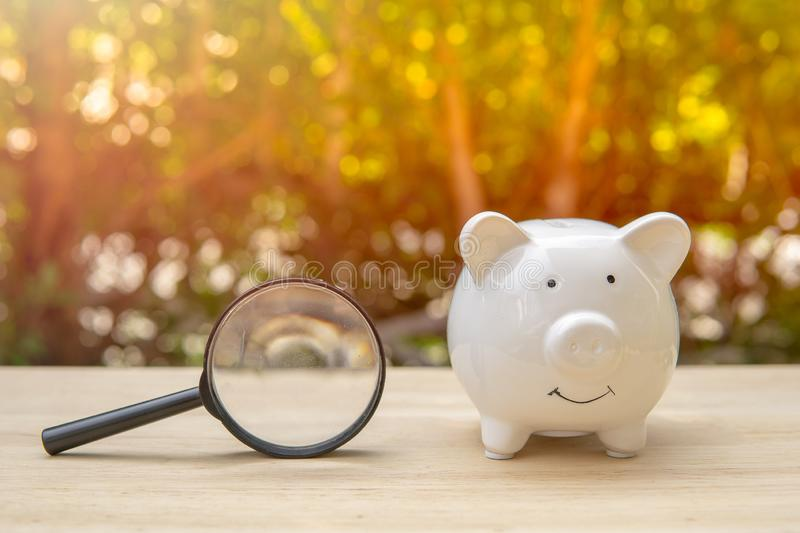 Magnifying glass next to white piggy bank on wood table in the park and sunset background, concept of search and financial savings stock photo