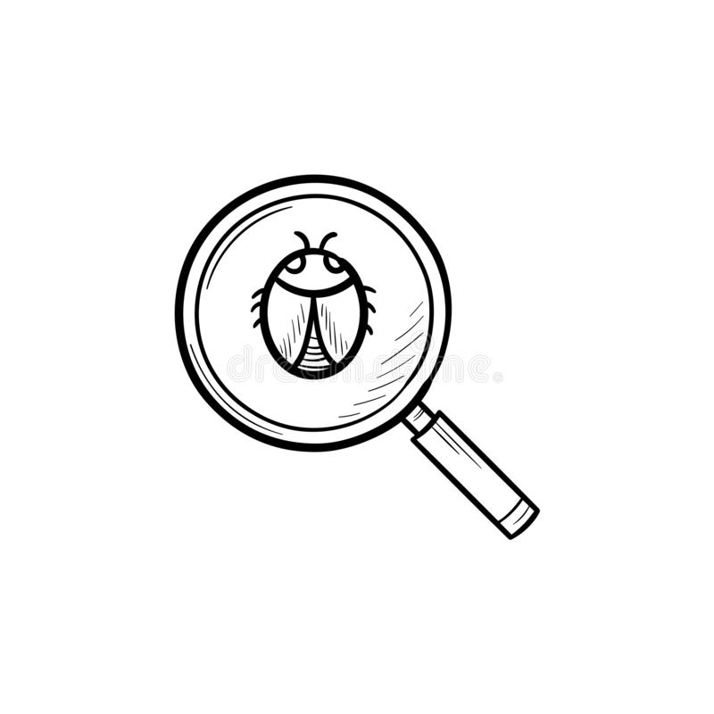 Magnifying glass over bug hand drawn outline doodle icon. stock illustration