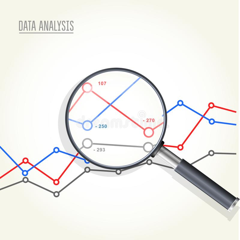 Magnifying glass over charts - data statisics research stock illustration