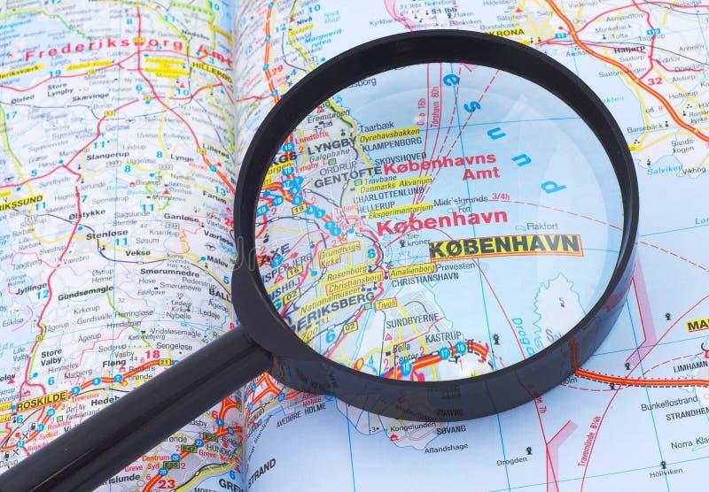 Magnifying glass over Kobenhavn, Denmarkmap