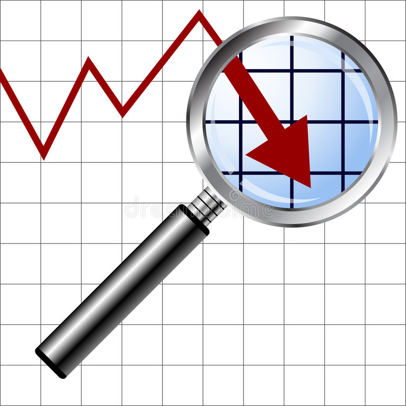 Magnifying glass over negative chart stock illustration
