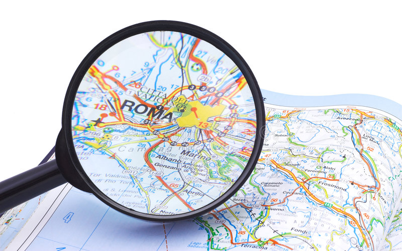 Magnifying Glass Over Rome, Italy Map Royalty Free Stock Photo