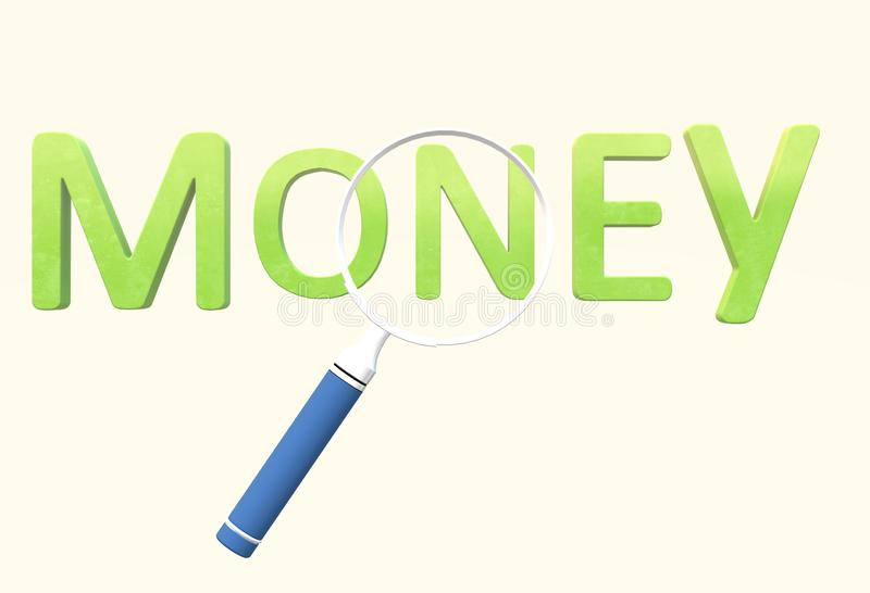 A magnifying glass over the words money - metaphor for the search for money. A computer generated illustration image of a magnifying glass over the words money vector illustration