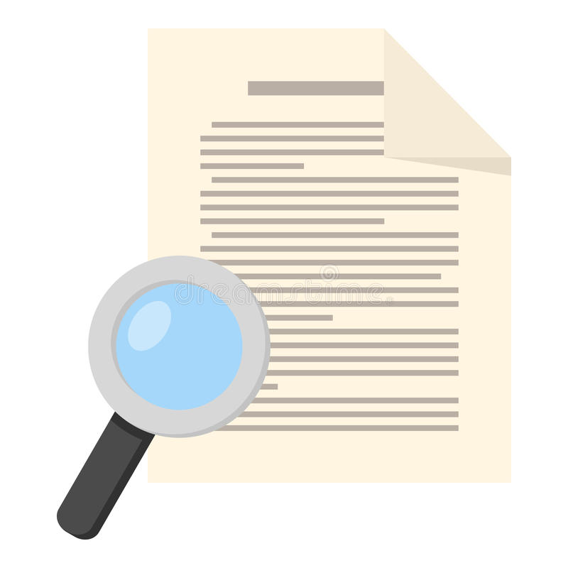 Magnifying Glass and Page Sheet Flat Icon. Page sheet or document flat icon with small magnifying glass, isolated on white background. Eps file available stock illustration