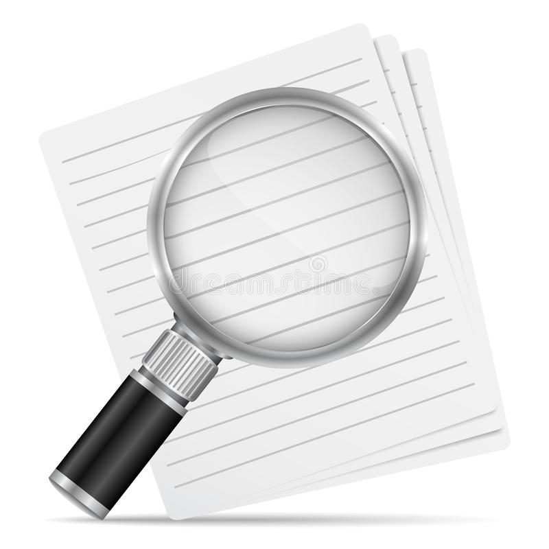 Magnifying glass with paper royalty free illustration