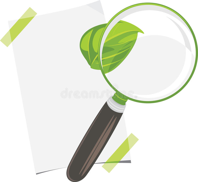 Magnifying glass, paper sheet and leaf isolated on the white royalty free stock photo
