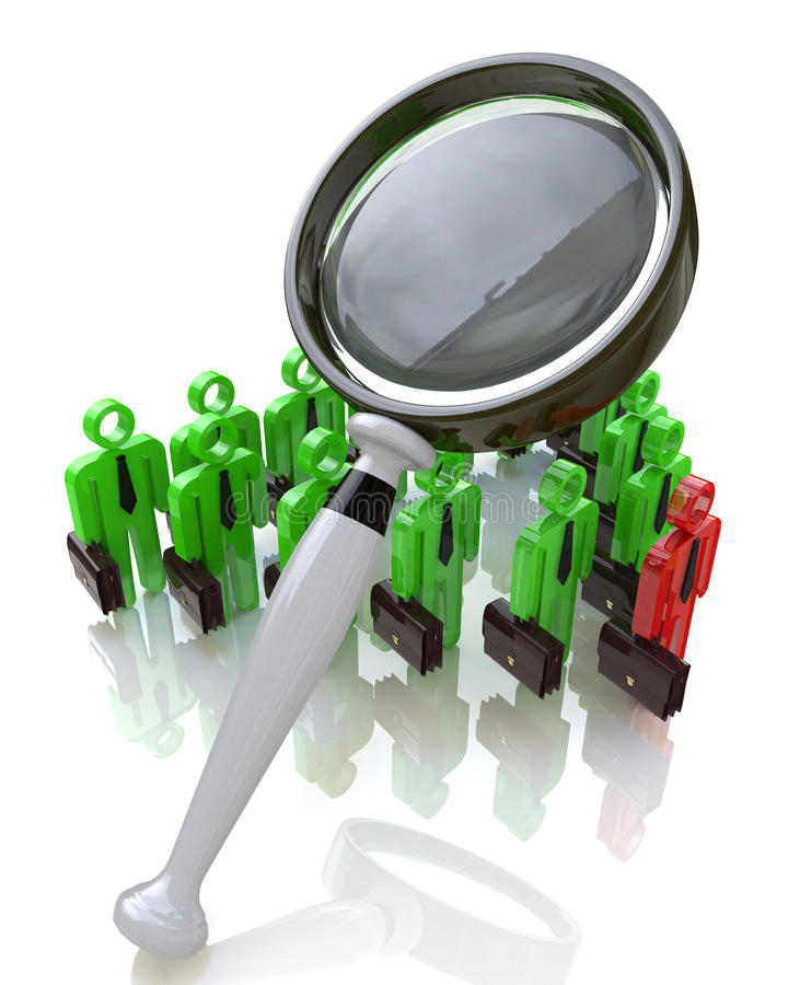 Magnifying glass and people royalty free stock photos