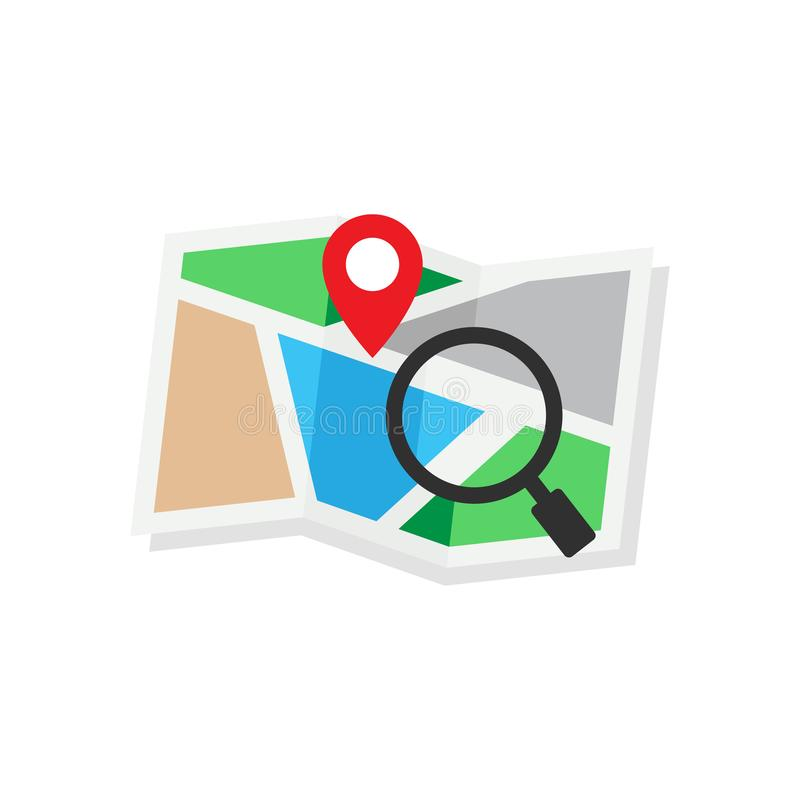 Flat design concept for magnifying glass pin map location navigation stock illustration