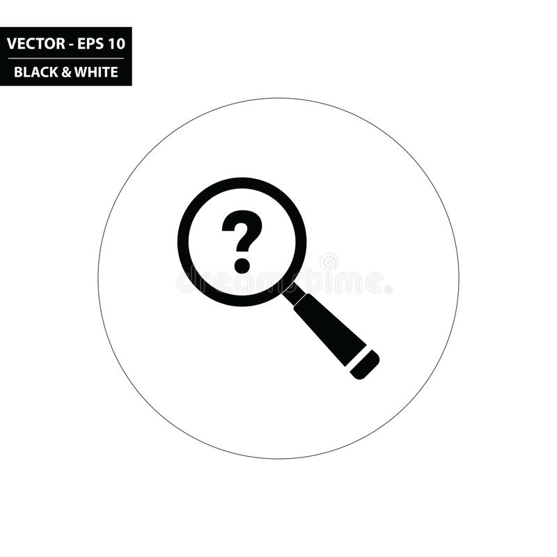 Magnifying glass and question mark black and white flat icon royalty free illustration
