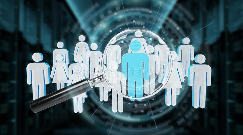Magnifying glass recruiting people illustration 3D rendering. Magnifying glass recruiting people illustration on blue background 3D rendering royalty free illustration