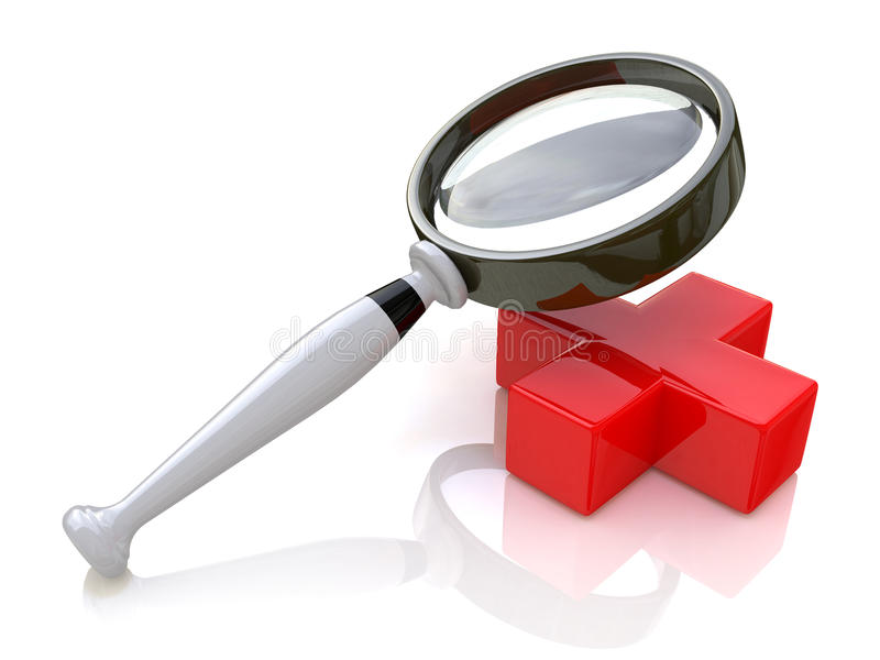 Magnifying glass and a red cross stock images
