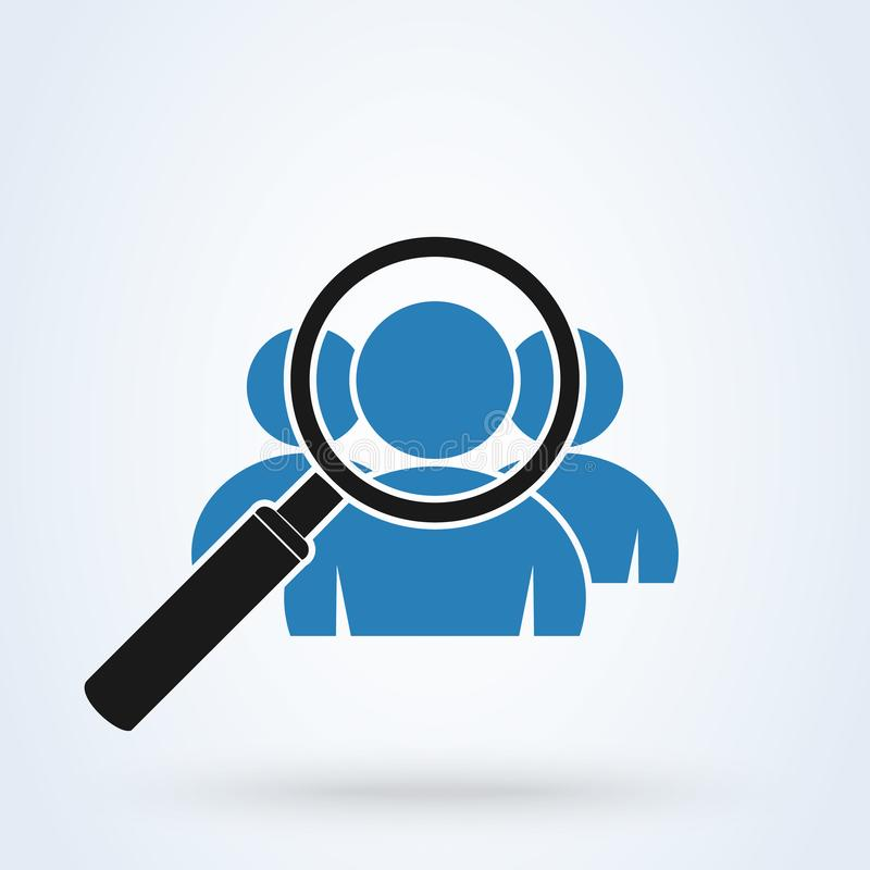 Magnifying glass for search a group. Simple vector modern icon design illustration stock illustration