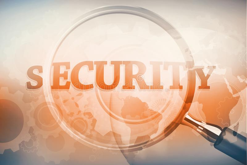 Magnifying glass showing security word. On grey background vector illustration